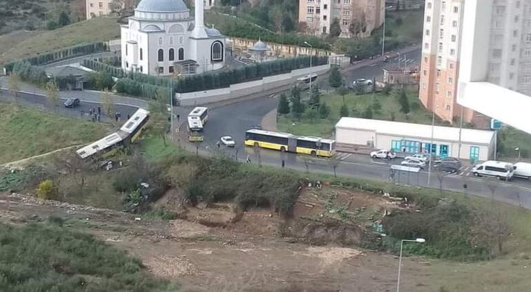 Last minute ... An IETT bus left the road in Istanbul, the driver was injured