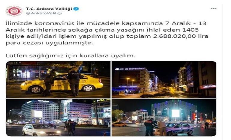Ankarada, kısıtlamayı ihlal eden 1405 kişiye para cezası