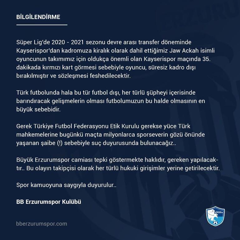 Erzurumspor, Jaw Ackahı kadro dışı bıraktı Sözleşmesi feshedilecek...