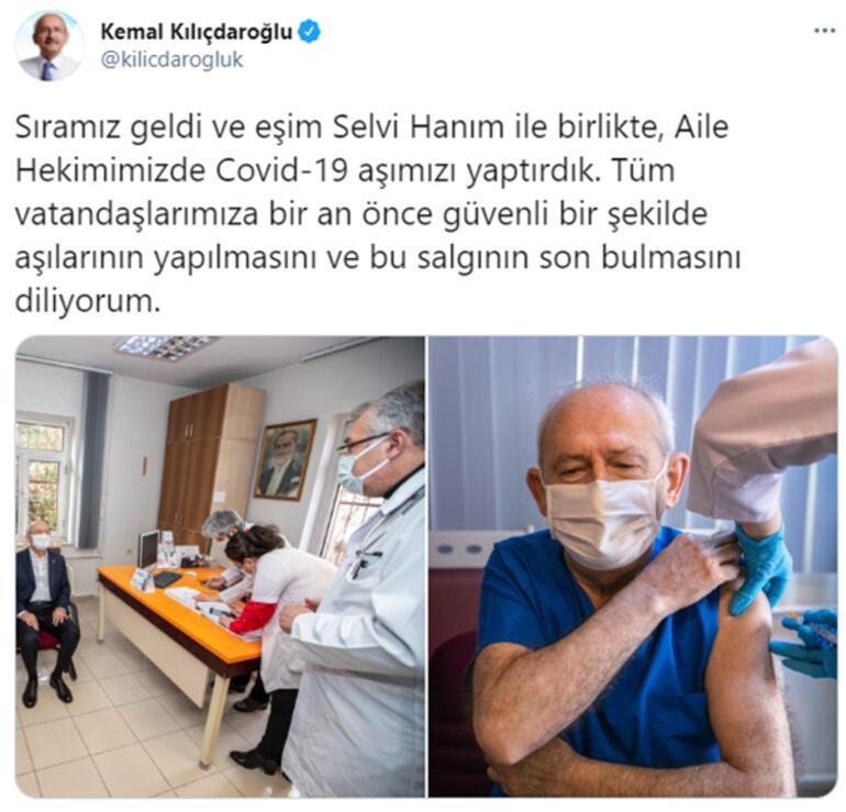 CHP lideri Kılıçdaroğlu, koronavirüs aşısı yaptırdı
