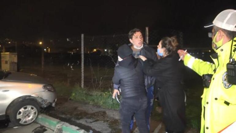 Kaza yaptı, polislerin üzerine yürüdü Gazetecilere saldırmaya çalıştı