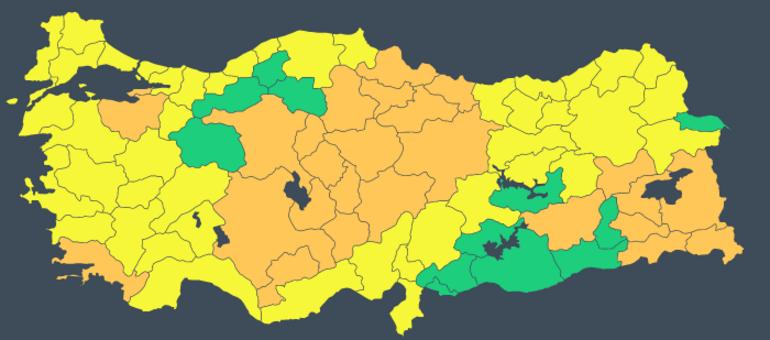 Meteorolojiden 69 kente sarı ve turuncu kodlu uyarı Yoğun kar, fırtına, çığ...