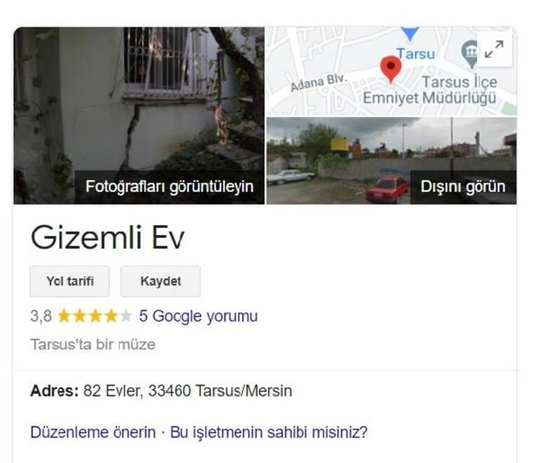 Mersindeki gizemli ev Googleın haritalarda işaretlendi