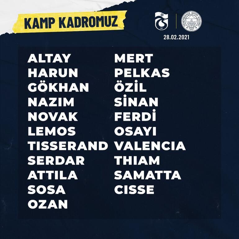 Fenerbahçenin Trabzonspor maçının kamp kadrosu açıklandı İrfan Can, Gustavo ve Caner Erkin...