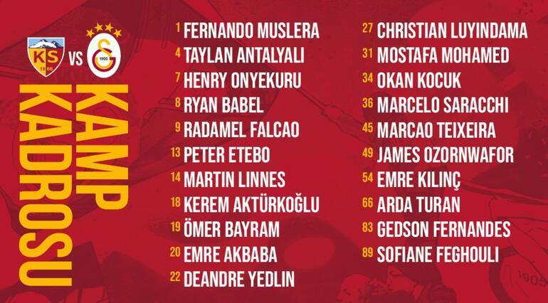 Son Dakika: Galatasarayın Kayserispor kadrosu belli oldu