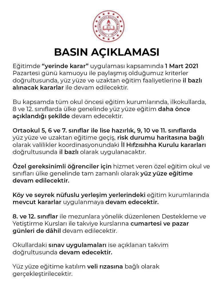 Son dakika haberi: Türkiyede yeni kısıtlamalar devreye sokulurken MEBden yüz yüze eğitim açıklaması