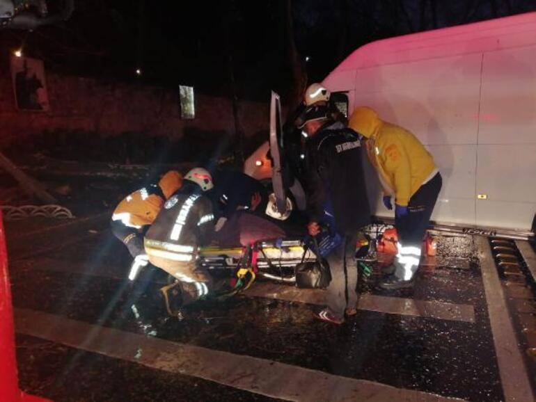 Beşiktaşta panelvan minibüsün çarptığı ağaç devrildi 1 yaralı