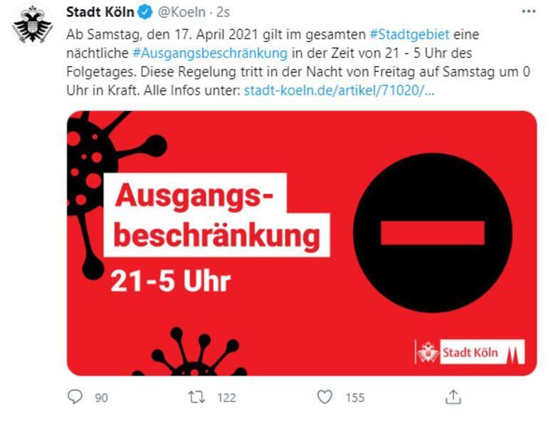 Köln'de gece sokağa çıkma yasağı ilan edildi