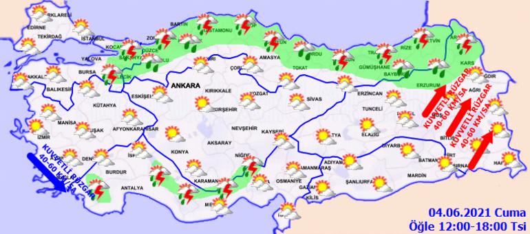 Hava durumu nasıl olacak Meteoroloji 4 Haziran il il hava durumu raporu ( 2 il için güçlü yağış ikazı)