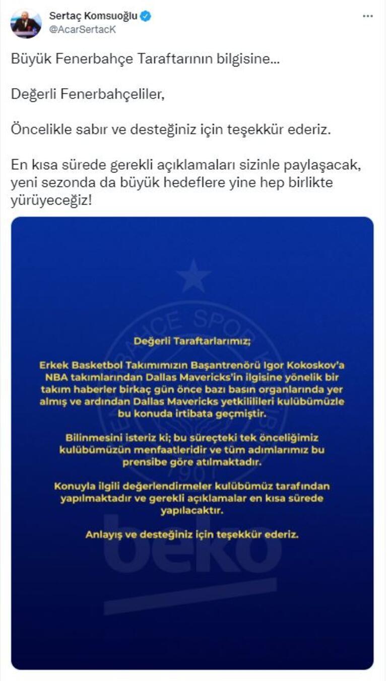 Son Dakika: Fenerbahçe Bekodan Kokoskov açıklaması geldi Gerekli değerlendirmeler...