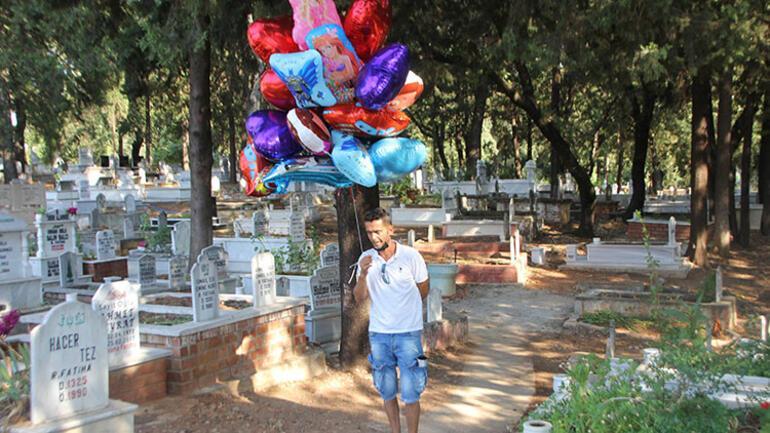 Antalyada yürek burkan olay Balonları tek tek çocuk mezarlarına bağladı