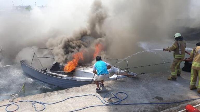 Son dakika: İstanbul Maltepede 9 tekne yandı