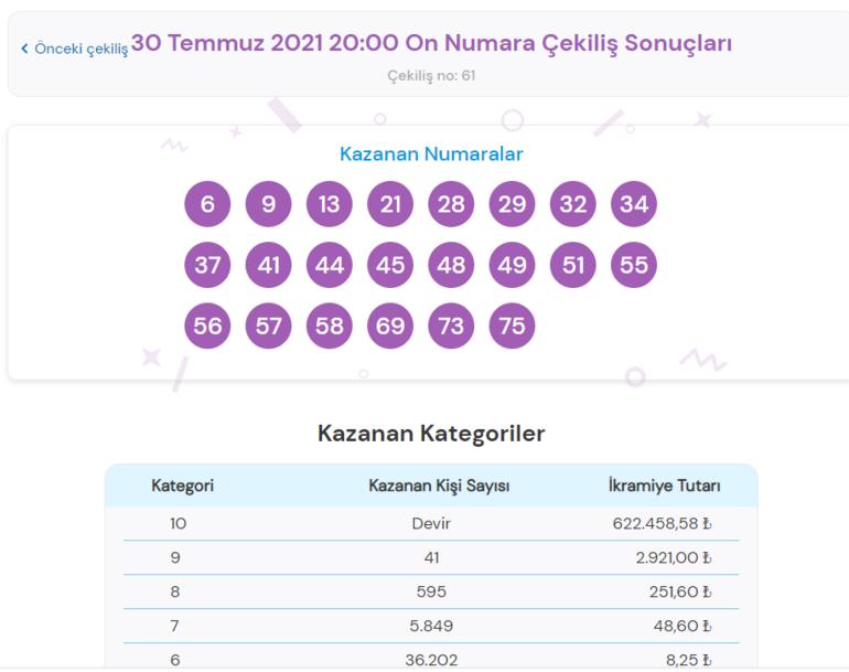 On Numara sonuçları bilet sorgulama ekranı: 30 Temmuz On Numara çekiliş sonuçları millipiyangoonlineda