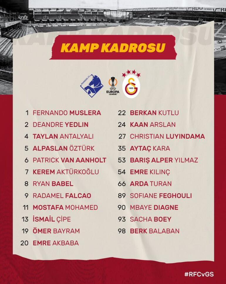 Son Dakika: Galatasarayda Randers maçının kamp kadrosu belli oldu Marcao...