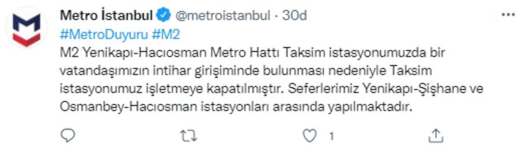 Son dakika: Taksimdeki metro istasyonunda seferlere ara verildi