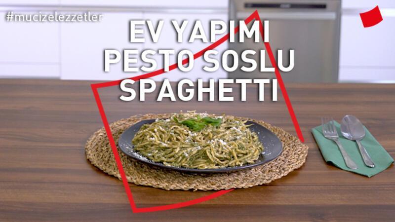 Ev yapımı pesto soslu spaghetti
