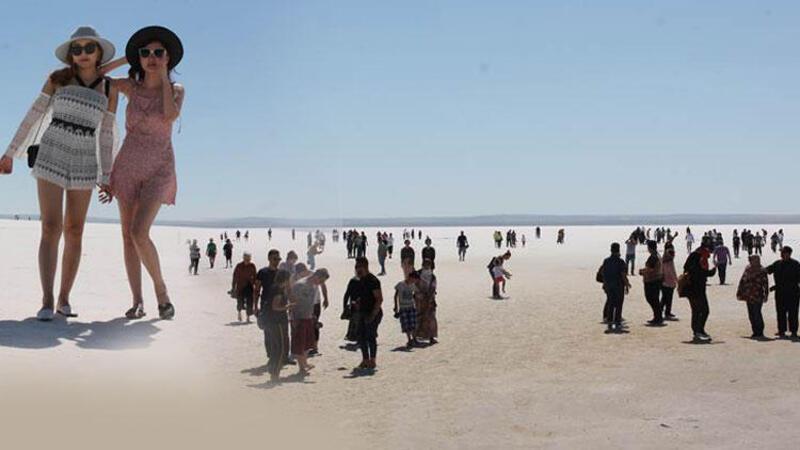 Tuz gölünde bayram yoğunluğu