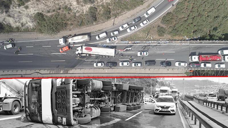 Anadolu Otoyolu'nda ambalajlı su yüklü tır devrildi