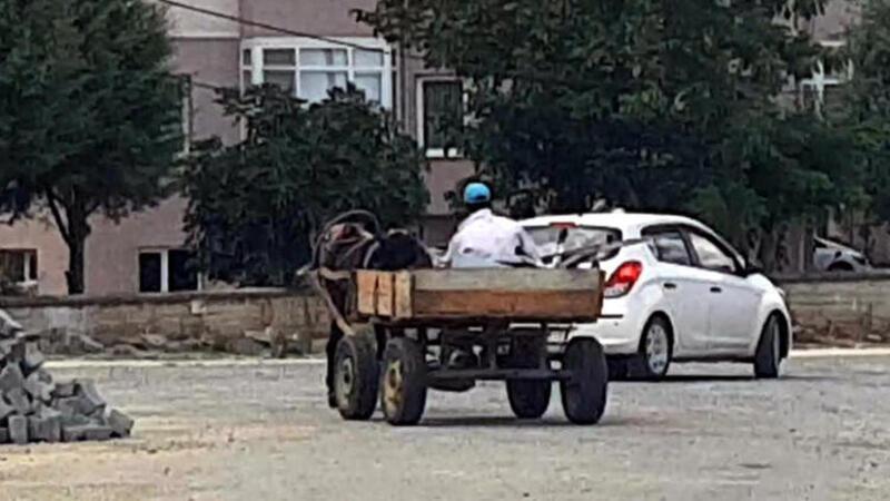 Trafik levhalarını at arabası ile götürürken yakalandı
