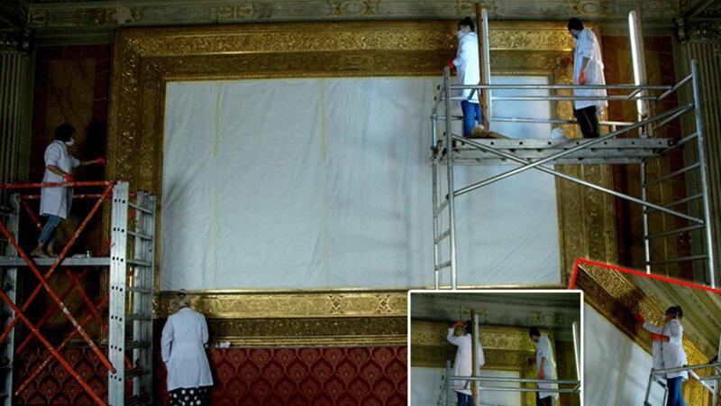 Dolmabahçe Sarayı'ndaki en büyük altın varak çerçeveli tablo restorasyonda