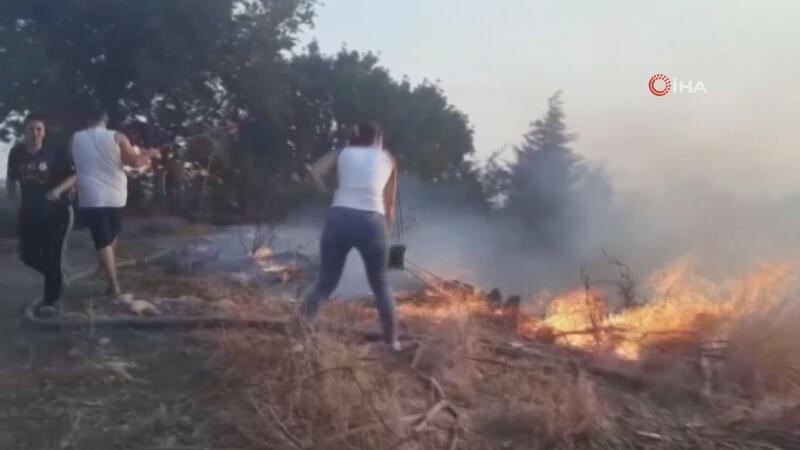 Serik'te arazi yangını