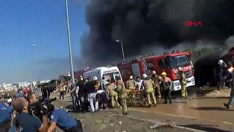 Tuzla'da yanan fabrikada patlama anı