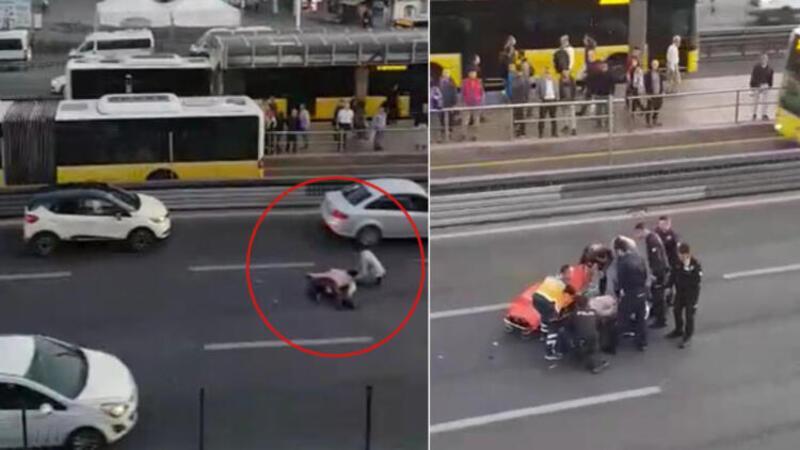 Üst geçitten atlayan kişiye, yoldan geçen araç çarptı