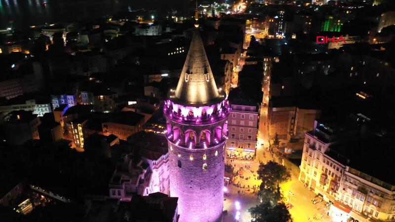 Galata Tower turns pink for breast cancer