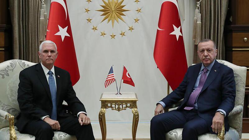 Cumhurbaşkanı Erdoğan ile ABD Başkan Yardımcısı Pence'in görüşmesi başladı