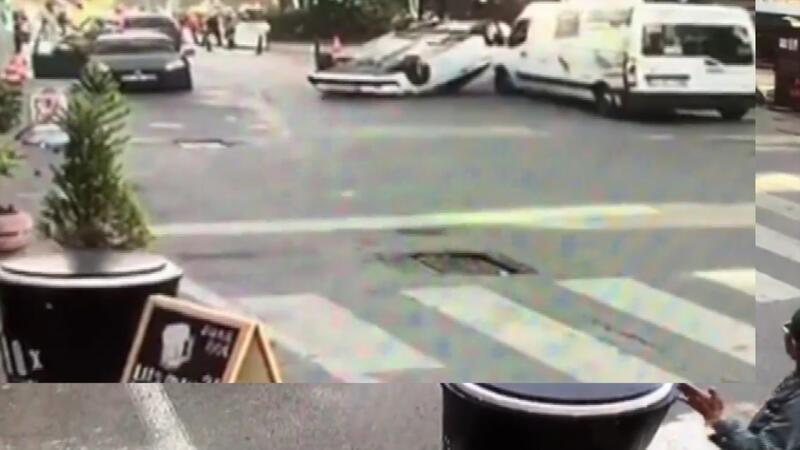 İstanbul'da akıl almaz kaza kamerada