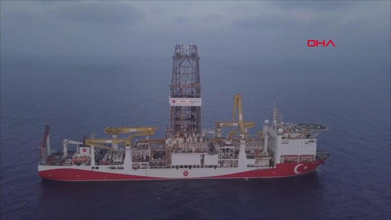 'Yavuz' sondaj gemisi havadan görüntülendi