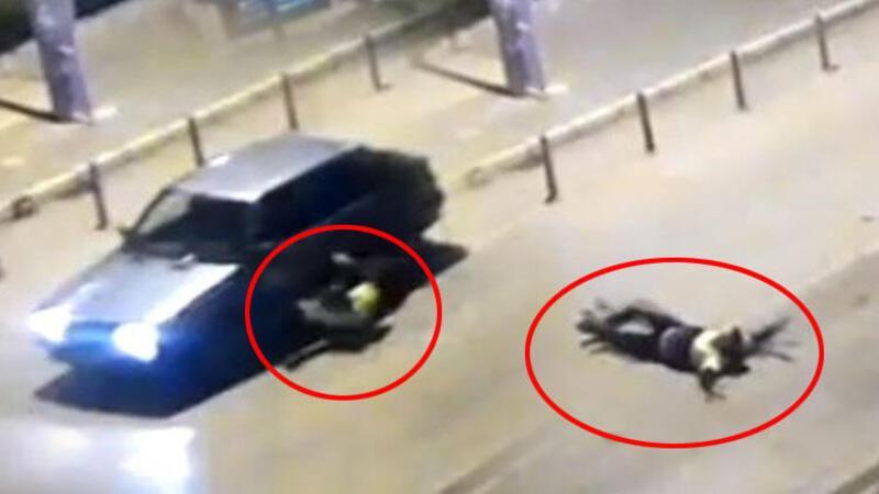Polisi 400 metre kaputa asılı halde sürükleyen alkollü sürücü tutuklandı