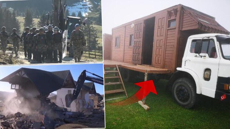 Ahşap evi kamyon kasasına monte etti
