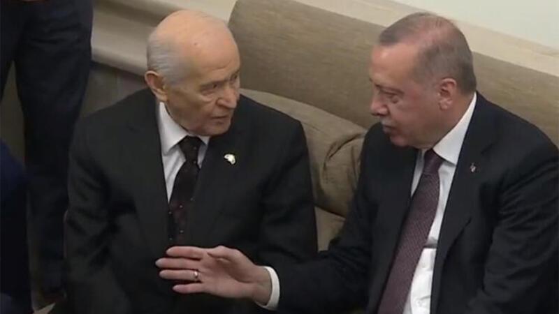 Cumhurbaşkanı Erdoğan, TBMM'de Bahçeli ile bir araya geldi