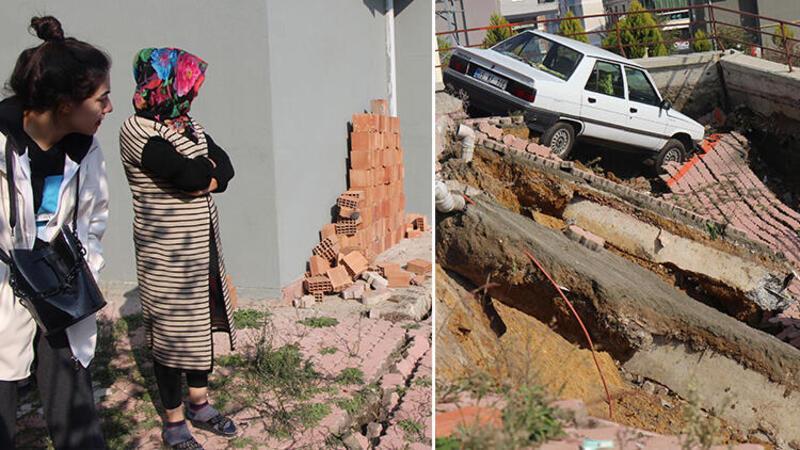 Samsun'da bir binanın istinat duvarı çöktü