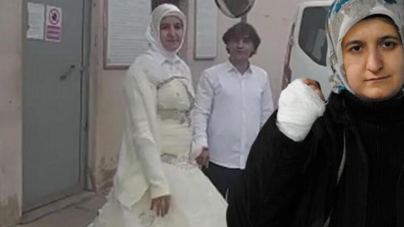 Cezaevi çıkışında gelinlikle karşıladığı eşi elinde sigara söndürdü