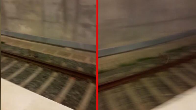 Marmaray'da trenin önünden kaçan tavşan kamerada