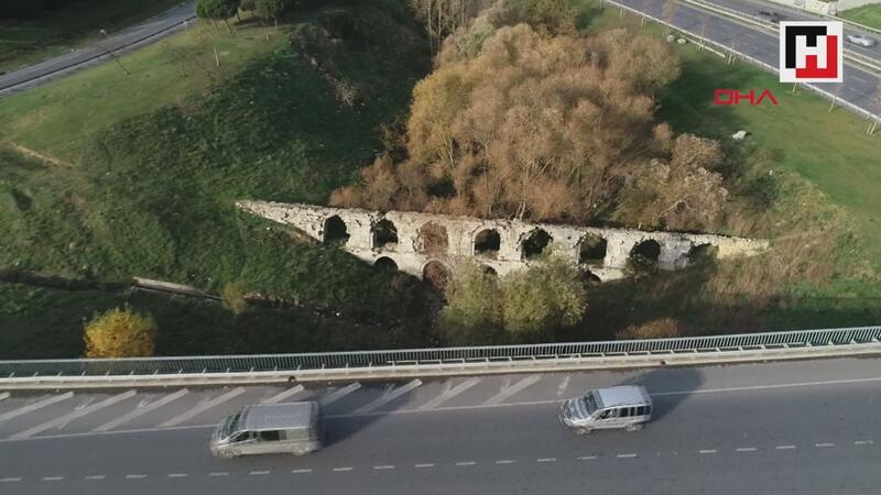 Otoyolların ortasında kalan tarihi kemere taş hırsızları dadandı