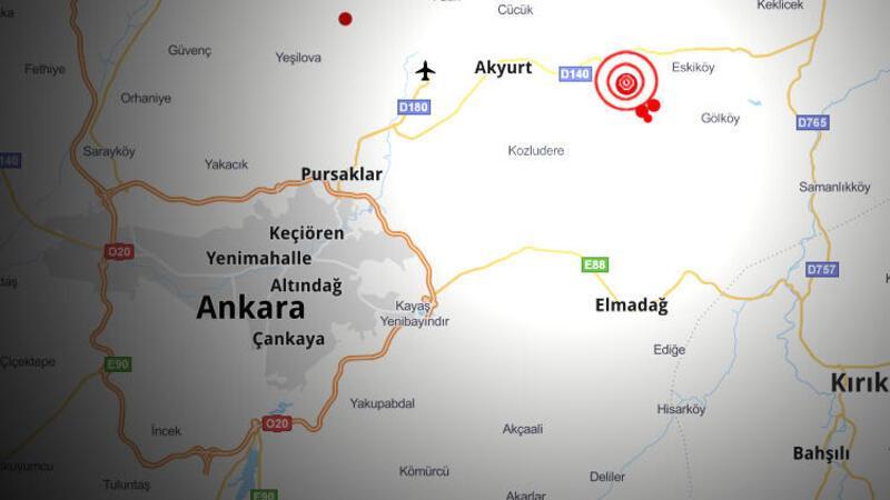 Ankara Akyurt'ta 3,9 büyüklüğünde deprem