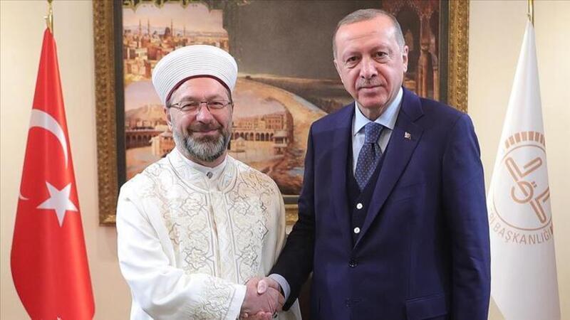 Cumhurbaşkanı Erdoğan, Diyanet İşleri Başkanı Erbaş'ı ziyaret etti