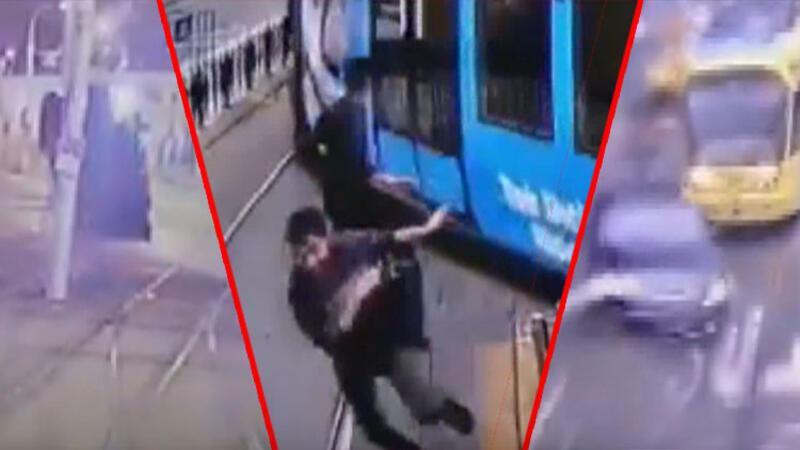 İstanbul'da tramvay yollarındaki ilginç kazalar kamerada
