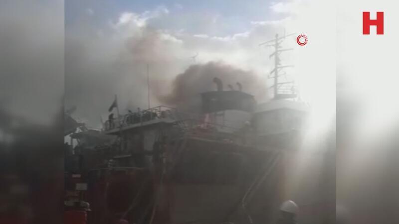 Tuzla'daki tersanede gemi yangını
