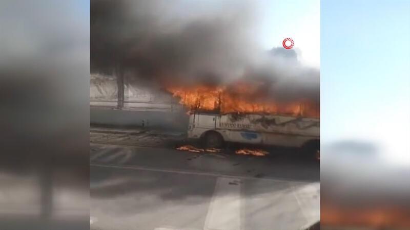Son dakika haber: Ümraniye'de otobüs alev alev yandı