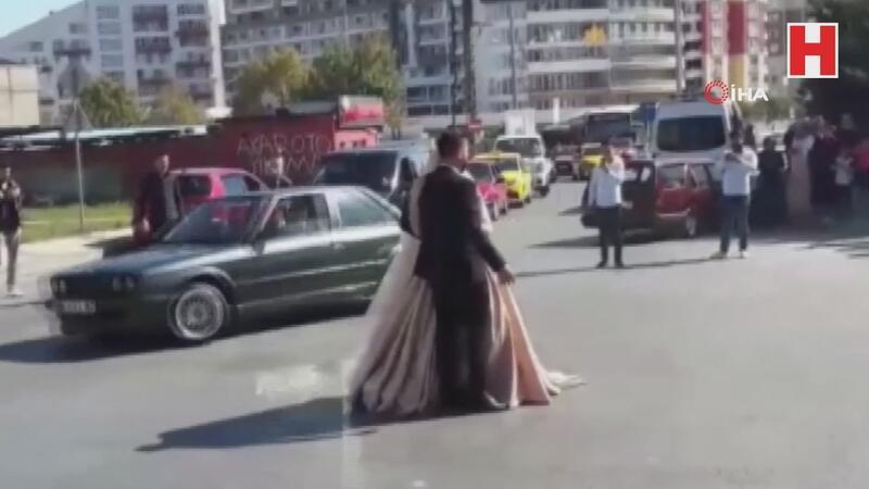 Düğün konvoylarında şoke eden görüntüler kamerada