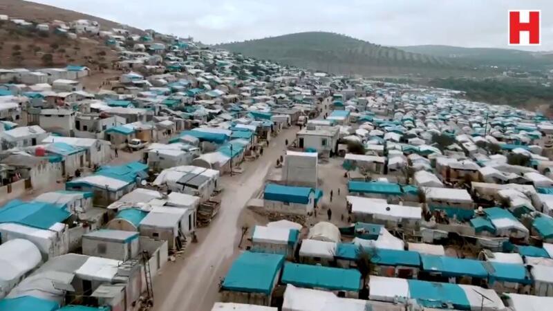 MSB, Türkiye-Suriye sınırındaki çadırların havadan görüntüsünü paylaştı