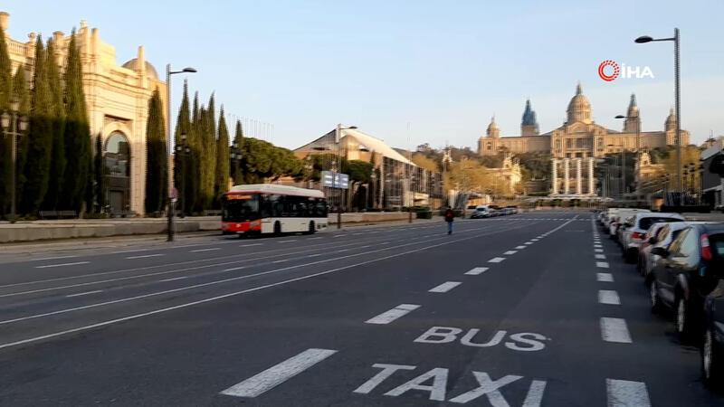 Barselona sokakları corona virüs nedeniyle boş kaldı