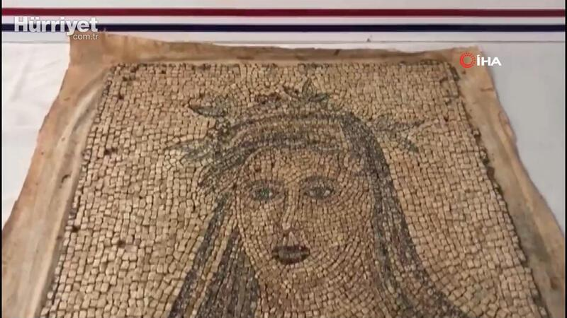 Bin 300 yıllık olduğu tespit edilen kadın figürlü mozaik ele geçirildi