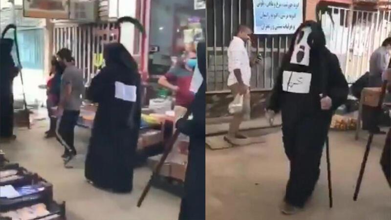 Karantinaya uymayanları 'Azrail' kostümüyle uyardılar