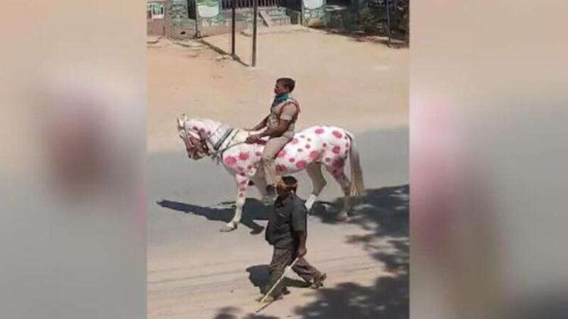 Hindistan'da ilginç Corona Virüs uyarısı: Atın üzerine virüsün resmini çizdi