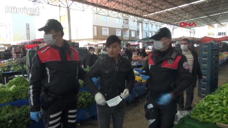 Halk pazarındaki 20 yaş ve altındaki 5 genç, evlerine götürüldü